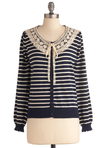 Collar Ashore Cardigan - Tan / Cream, Stripes, Casual, Vintage Inspired, 50s, Long Sleeve, Nautical, Blue, Lace, Tie Neck, Button Down
