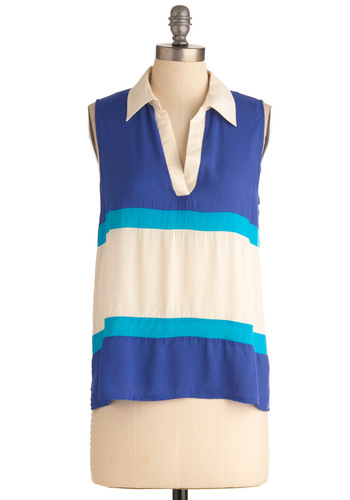Ten Out of Tennis Top - Mid-length, Blue, White, Stripes, Casual, Sleeveless
