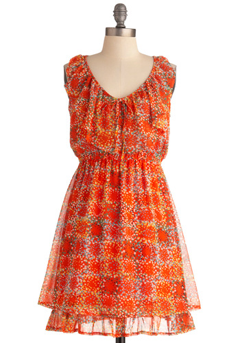 Clicked Over Coffee Dress - Mid-length, Orange, Multi, Print, Ruffles, Party, A-line, Bows, Racerback