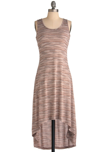 Saw It in the Sand Dress - Mid-length, Stripes, Cutout, Casual, Tank top (2 thick straps), Tan, Brown, Black, Shift, Summer, High-Low Hem