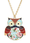 Hoot Couture Necklace - Casual, Owls, Multi, Chain, Red, Orange, Blue, Pink, Brown, White, Floral