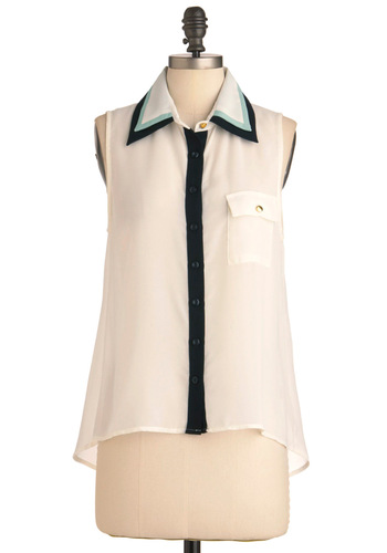 Olfactory Tour Top in White - Mid-length, White, Green, Black, Buttons, Pockets, Work, Casual, Menswear Inspired, Sleeveless, Summer
