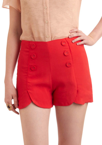 Sailor Squad Shorts in Red - Red, Solid, Buttons, Casual, Nautical, Summer, Short