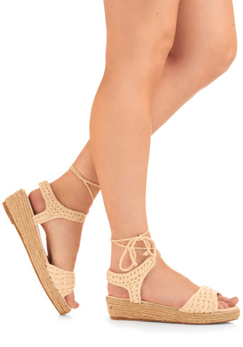 Weave Got It Wedge - Cream, Crochet, 70s, Summer, Wedge