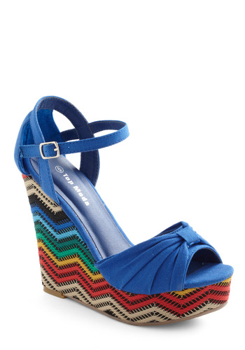 North Shore to Please Wedge - Blue, Red, Yellow, Green, Blue, Tan / Cream, Casual, Stripes, Bows, Summer, Wedge