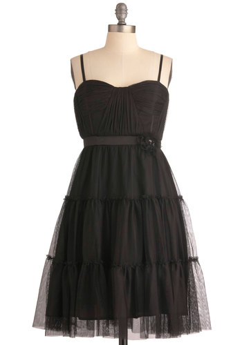 Here We Noir Again Dress by Max and Cleo - Mid-length, Black, Solid, Flower, Empire, Spaghetti Straps, Special Occasion, Prom, Cocktail, Tiered