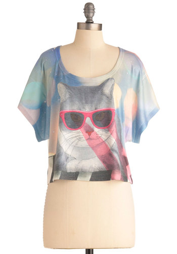 Coolest Cat Around Top - Short, Multi, Blue, Pink, Casual, Vintage Inspired, 90s, Short Sleeves, Pastel, Cropped, Quirky, Scoop, Beach/Resort, Summer, Print with Animals, Cats