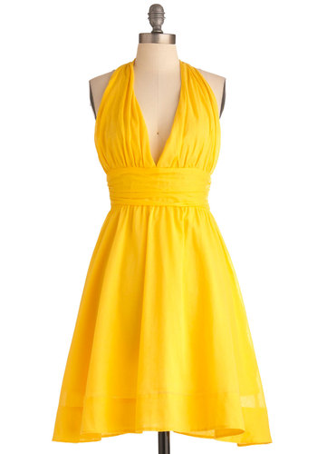 Taken a Sunshine to You Dress - Mid-length, Yellow, Solid, Party, A-line, Empire, Halter, Summer, Pinup, Vintage Inspired