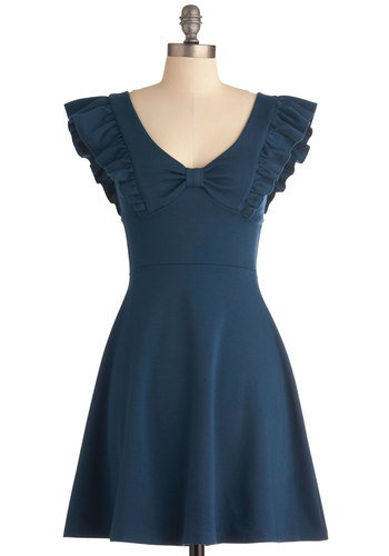 A-maizing Harvest Dress in Blue Corn - Mid-length, Blue, Solid, Bows, Ruffles, Party, A-line, Cap Sleeves, Exclusives