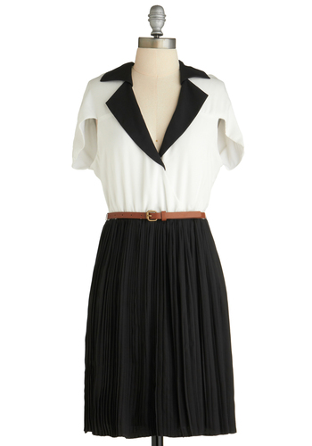 Sample 1800 - Black, White, Pleats, Shirt Dress, Twofer, Short Sleeves