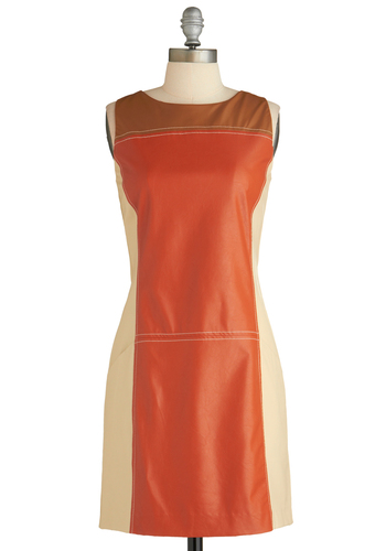 Sample 1798 - Orange, Brown, Tan / Cream, Exposed zipper, 60s, Sheath / Shift, Tank top (2 thick straps), Party