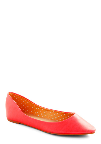 Day and Nightlife Flat in Pink - Pink, Solid, 80s, Casual