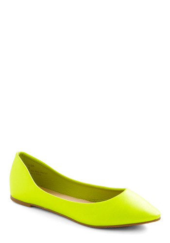 Day and Nightlife Flat in Yellow - Yellow, Solid, 80s, Casual, Vintage Inspired
