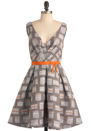 Housewarming My Heart Dress by Eva Franco - Mid-length, Grey, Orange, White, Bows, Pleats, Party, A-line, Sleeveless, Belted, Cocktail, Fit & Flare, V Neck, Tis the Season Sale