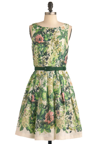 Change of Greenery Dress by Eva Franco - Mid-length, Wedding, Party, Vintage Inspired, Green, Orange, Pink, Tan / Cream, Floral, Pleats, A-line, Spring, Sleeveless, Belted, Cocktail, Fit & Flare