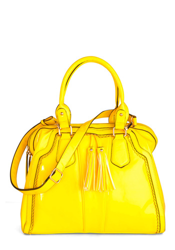 Yellow, My Dear Bag - Yellow, Solid, Tassles, Casual, Summer, Scallops