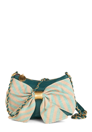 Teal Next Time Shoulder Bag - Green, Tan / Cream, Solid, Stripes, Bows, Chain
