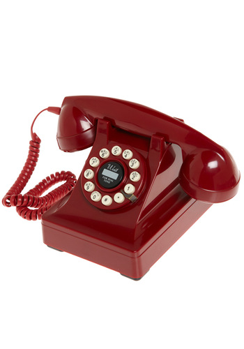 Call My Direct Line Phone - Red, Dorm Decor, Mid-Century