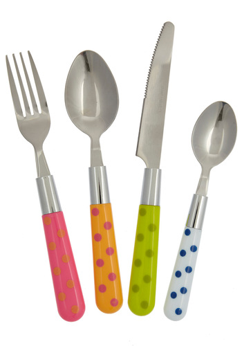 Mix & Munch Flatware Set in Multicolor - Multi, Orange, Green, Blue, Pink, Silver, Polka Dots, Quirky
