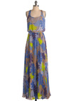 Moonlight Conservatory Dress - Long, Blue, Purple, Tan / Cream, Floral, Pleats, Maxi, Racerback, Summer, Multi, Green, Buttons, Party, Spring, Beach/Resort