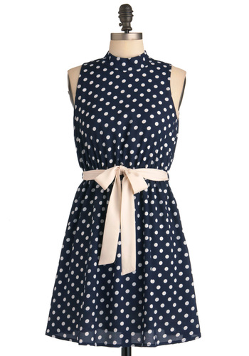 Dot You Know the Polka? Dress - Short, Blue, White, Polka Dots, Cutout, Party, Shift, Sleeveless, Summer