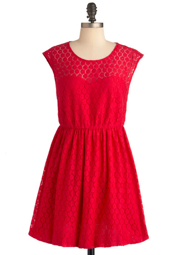 The Lace You Know Dress - Short, Red, A-line, Cap Sleeves, Solid, Lace, Casual