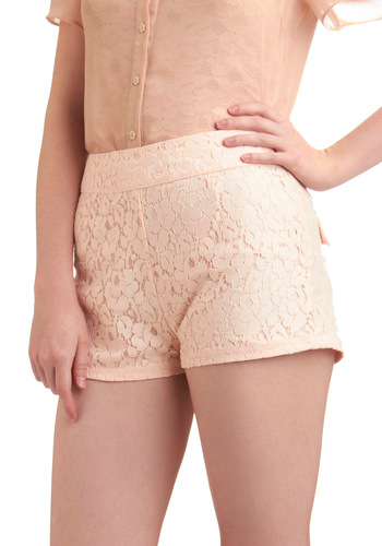 Petal Around the Park Shorts - Pink, Solid, Lace, Pockets, Casual, Spring, Summer, Scallops, Tis the Season Sale