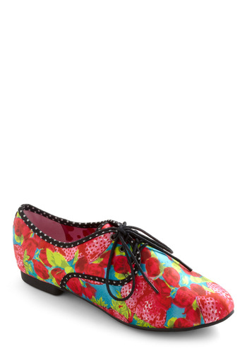 Blossoms and Berries Flat - Red, Multi, Green, Blue, Black, Print, Casual, Spring, Fruits, Lace Up, Flat