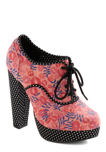 Secretary of Statement Heel - Pink, Multi, Red, Black, White, Purple, Polka Dots, Novelty Print, Party, Statement