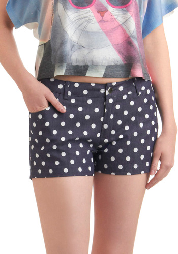 Best Suds Shorts - Casual, Blue, White, Polka Dots, Pockets, Spring, Summer, Nautical, Short, Beach/Resort