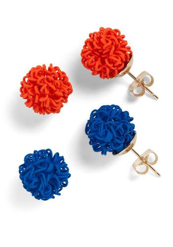 A Haute Mess Earrings - Orange, Blue, Solid