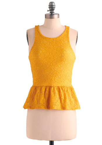 Number Mum in My Heart Top - Mid-length, Yellow, Solid, Lace, Vintage Inspired, 40s, Party, Tank top (2 thick straps), Summer