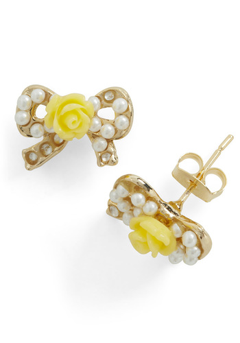 Whisper Pretty Things Earrings - White, Gold, Flower, Pearls, Yellow, Bows, Casual