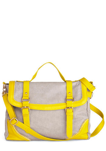 Travel Bright Bag - Grey, Yellow, Buckles, Casual, 80s, Urban