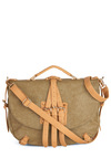 Ride to Work Satchel - Green, Tan / Cream, Buckles, Safari, Solid, Faux Leather
