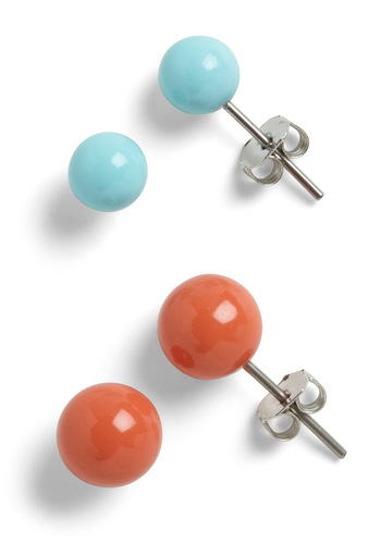Spotted in the Southwest Earrings - Orange, Blue, Solid, Casual