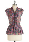 Rosette for Life Top - Work, Mid-length, Multi, Green, Purple, Pink, Floral, Tiered, Cap Sleeves, Spring