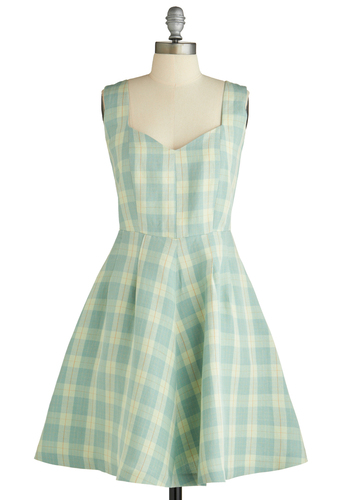 Simply Marvelous Dress by 50 Dresses - Mid-length, Green, Orange, Plaid, Pockets, Party, A-line, Tank top (2 thick straps), Spring, Tan / Cream