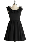 A Flair for the Operatic Dress - Mid-length, Black, Solid, Polka Dots, Ruffles, Party, A-line, Sleeveless