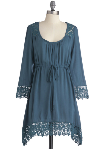 Self-Guided Tourmaline Tunic - Long, Blue, Solid, Lace, Trim, Casual, Boho, 3/4 Sleeve