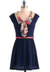 Collar Me Adorable Dress - Short, Blue, Pink, Floral, A-line, Cap Sleeves, Multi, Work