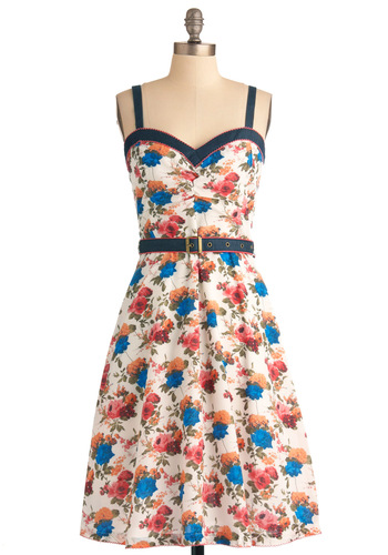Botanical Brunch Dress - Long, Multi, Orange, Blue, Pink, Tan / Cream, Floral, Trim, Party, A-line, Spring, Summer, Spaghetti Straps