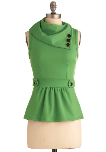 Coach Tour Top in Grass - Mid-length, Green, Solid, Buttons, Work, Vintage Inspired, 40s, Sleeveless, Peplum, Best Seller, Variation