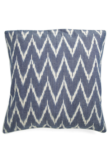 Ikat Lover Pillow in Blue by Karma Living - Blue, White, Print, Dorm Decor, Mod