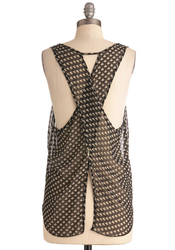 The Current Style Top - Mid-length, Black, White, Novelty Print, Casual, Nautical, Summer, Cutout, Pockets, Sleeveless, Backless