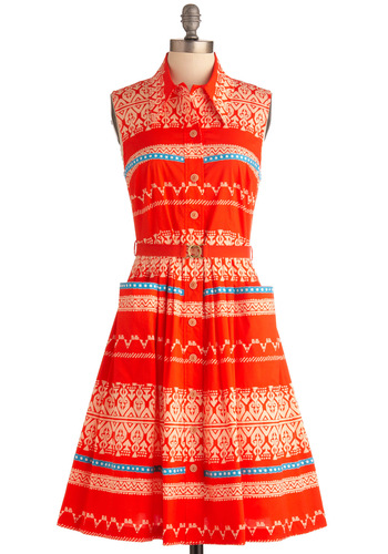 Plenty by Tracy Reese Fairground Femme Dress by Plenty by Tracy Reese - Long, Blue, Tan / Cream, Print, Pockets, Shirt Dress, Sleeveless, Orange, Trim, Belted, Button Down, Collared, Fit & Flare