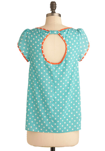 Dotted Line Signature Top - Mid-length, Blue, Orange, White, Polka Dots, Cutout, Casual, Cap Sleeves, Spring