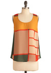 Silently Chic Top - Mid-length, Green, Tan / Cream, Buttons, Casual, Vintage Inspired, 60s, Sleeveless, Orange, Yellow, Sheer, Colorblocking, Mod