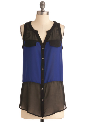 Cobalt and Pepper Top - Blue, Buttons, Sleeveless, Black, Party, Mid-length