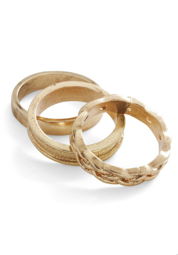 One, Two, Trio Ring Set - Gold, Solid, Casual